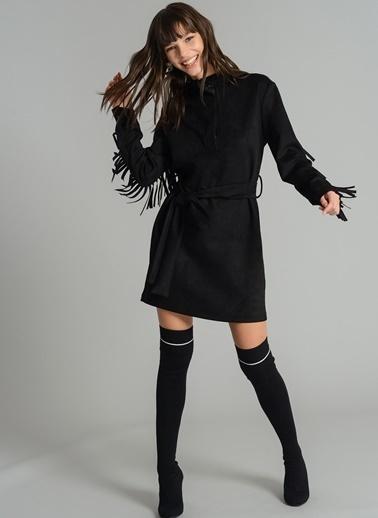 Püskül Detaylı Süet Elbise-Agenda